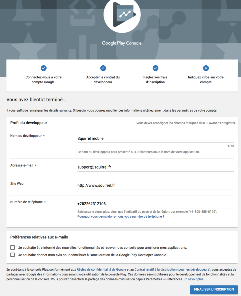 indiquer information compte developpeur google play