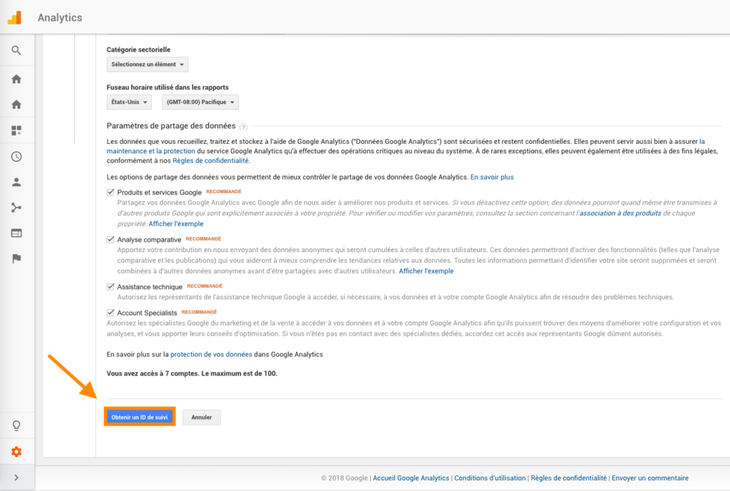 Valider id suivi Google analytics