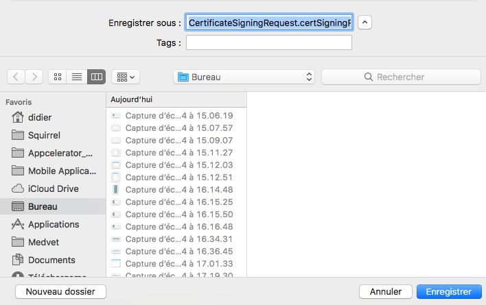 sauvegarder fichier CertificateSigningRequest