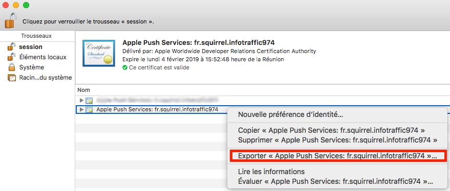 """récupérer fichier """".p12"""" puis exporter """"apple push service"""""""