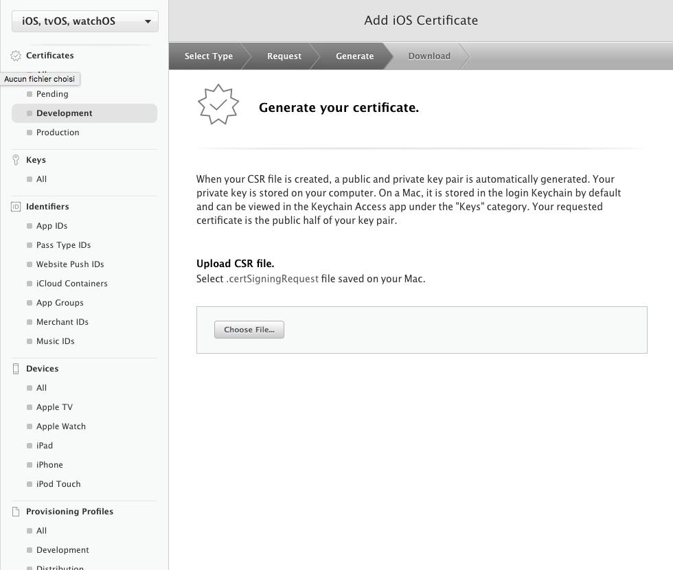 envoyer fichier CertificateSigningRequest