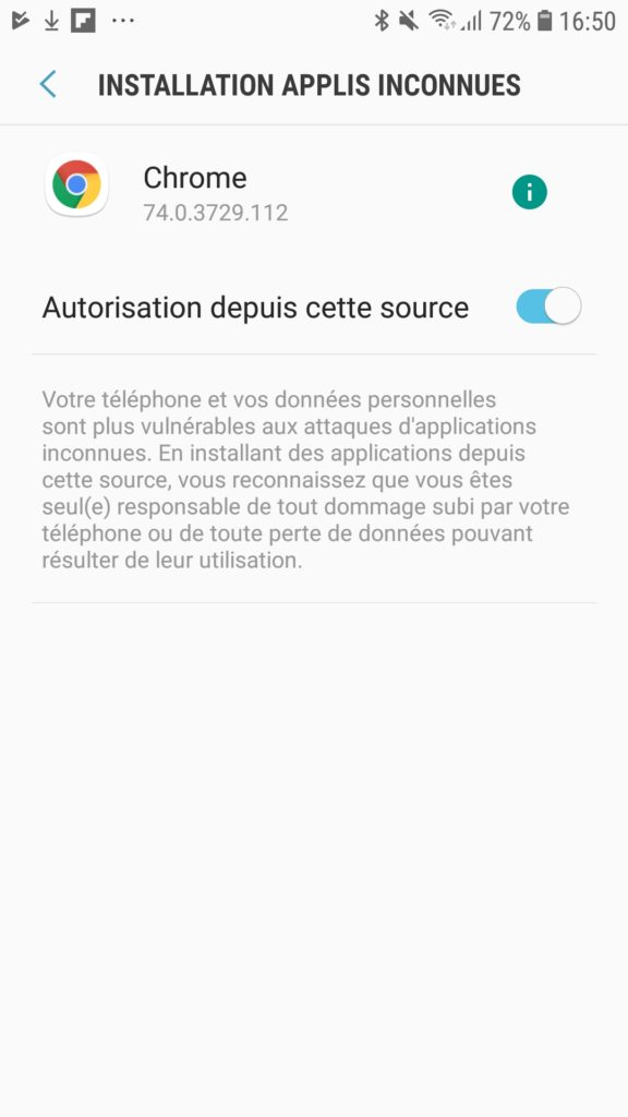 installation applications inconnues