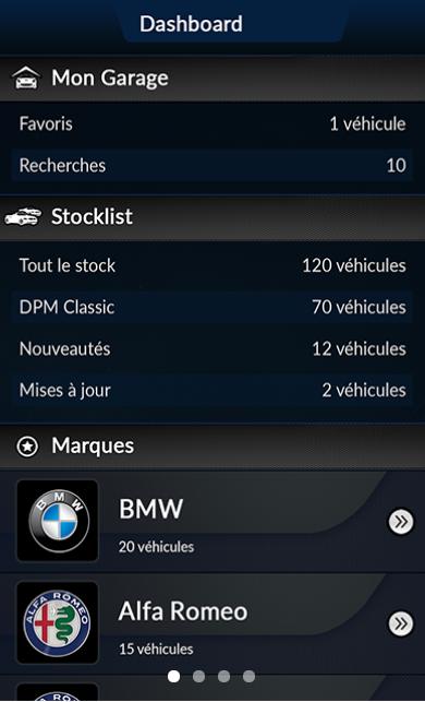 Capture d'écran application secteur automobile DPM motors (1)