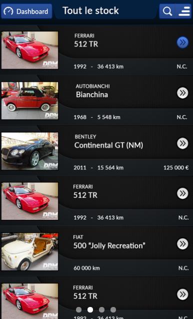 Capture d'écran application secteur automobile DPM motors (2)