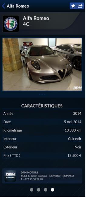 Capture d'écran application secteur automobile DPM motors (3)