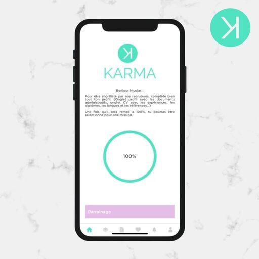 Se connecter sur l'application Karma