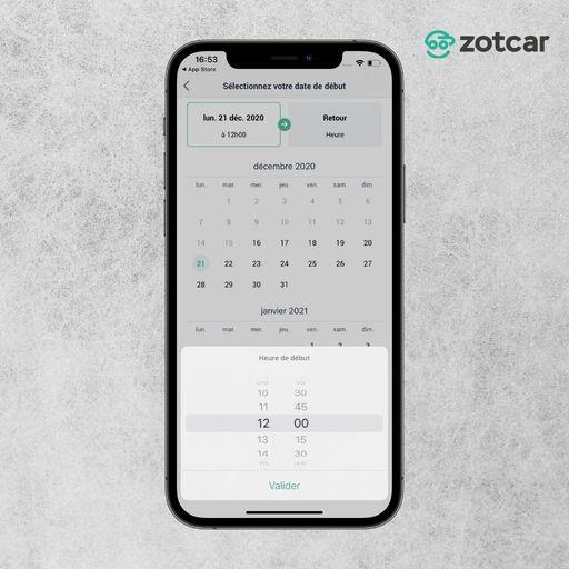Sélectionner une date de début de réservation sur Zotcar