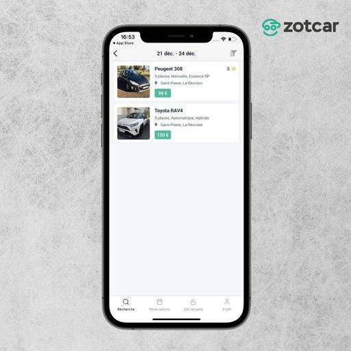 Voir sa réservation sur Zotcar