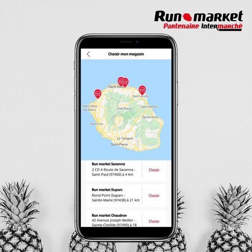 Géolocalisation dans l'application Runmarket